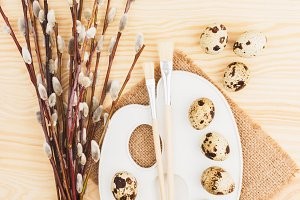 Quail eggs with twig willows and different decorations, wooden background