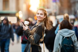 businesswoman walking on city