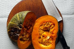 cut Pumpkin baked in the oven