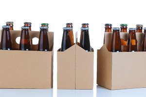 Several flavors of beer in carriers
