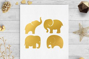 baby elephant gold foil clip svg