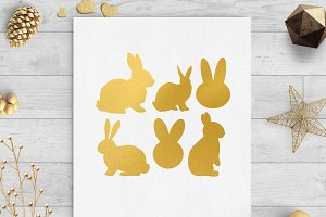 easter bunny gold foil clip art svg