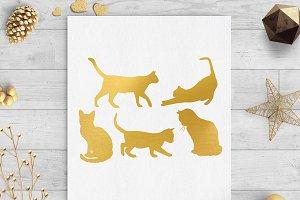 cat gold foil clip art png svg dxf