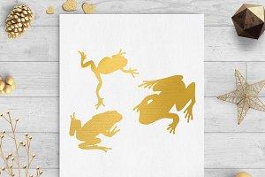 frogs gold foil clip art png svg dxf