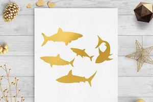 sharks gold foil clip art png svg