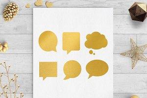 speech bubbles gold foil clip art