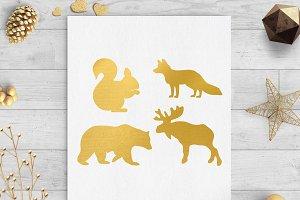 woodland animals gold foil clip art