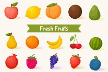 Sweet Fruits icons and pattern