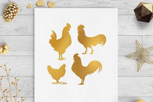 chickens gold foil clip art png svg