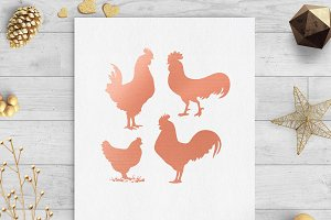 chickens rose gold clip art svg