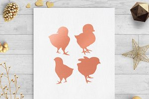 chicks rose gold clip art svg png