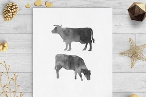 cows black watercolor clip art svg