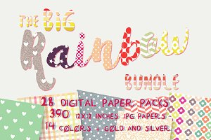 Rainbow Bundle- 390 Digital Papers