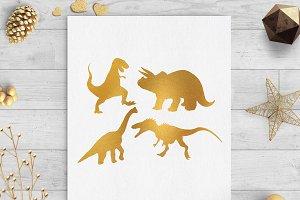dinosaur gold foil clip art svg png