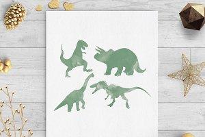 dinosaur watercolor clip art png svg