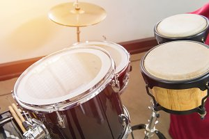 drum kit for playing music.