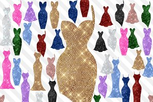 Glam Sequin Dresses Clipart