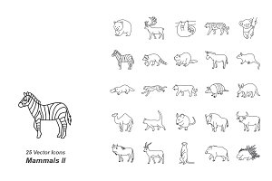 Mammals II outlines vector icons