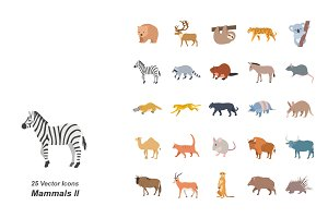 Mammals II color vector icons