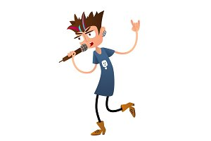 Young boy rock singer. Cartoon character. Flat style