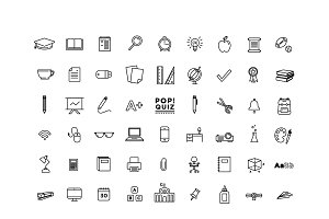 54 School Themed Icons - Vectors