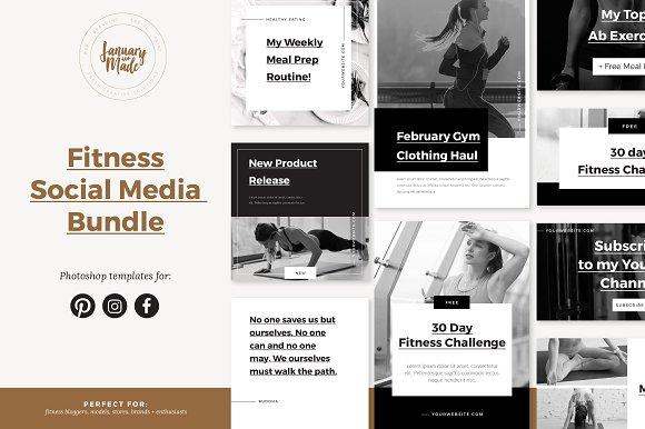 Fitness Social Media Template Bundle Social Media Templates
