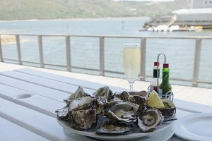 a plate of fresh open oysters and a glass of champagne on a white table with a view of the ocean, selective focus