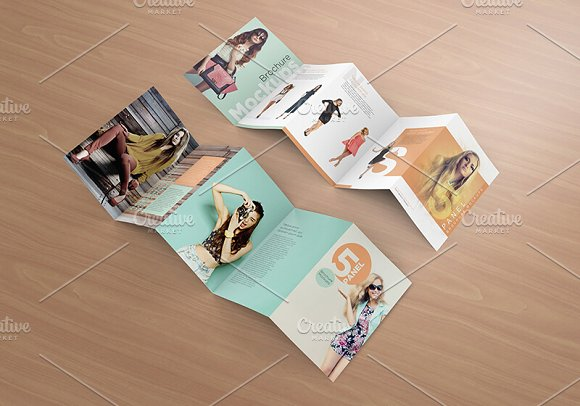 five panel brochure mockups product mockups creative market