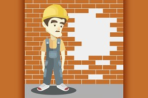 Friendly builder with helmet