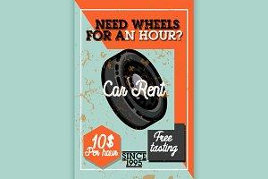 Color vintage car rent banner