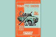 Color vintage car wash banner
