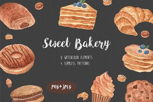 Watercolor Sweet Bakery set
