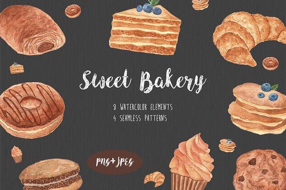 Watercolor Sweet Bakery set