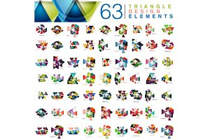 Mega collection of 63 modern color triangles abstract design elements