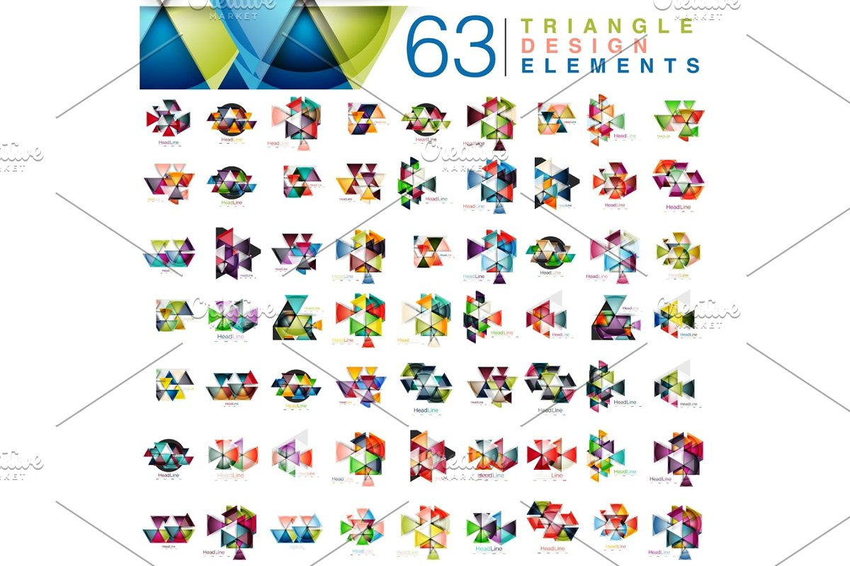 Mega collection of 63 modern color triangles abstract design elements in Illustrations - product preview 8