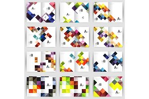 Set of square geometrical business brochure templates