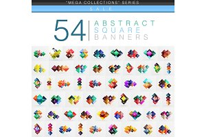 Mega collection of 54 square geometrical web banners