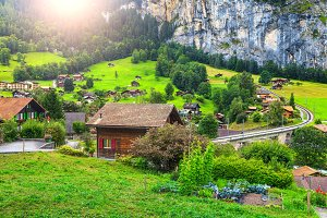 Lauterbrunnen town in Switzerland