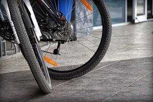 two modern bicycle wheels