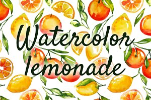 Watercolor lemonade pattern