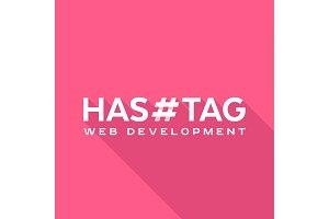 Logo concept, hashtags, flat style
