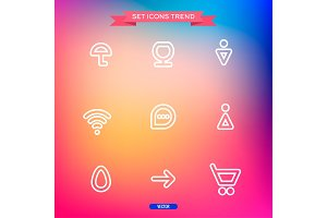 Icons Set Vector trend outline symbol web