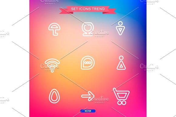 Icons Set Vector Trend Outline Symbol Web
