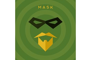Black mask, beard mustache, superhero, green background, vector flat style illustrations