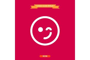logo winking smile icons vector illustration of a flat