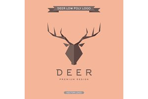 Deer logo polygonal elements of the trend vector