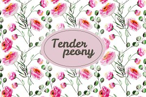 Tender peony patterns and elements