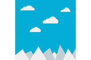 Clouds and mountains background flat web, illustration, vector