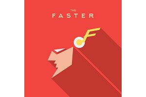 Faster Hero superhero Mask flat style icon vector logo, illustration