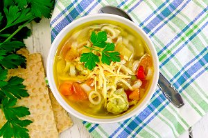 Soup Minestrone in white bowl